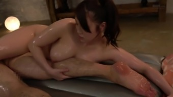 From asia chick talked about oil has got a fantastic time with a cock