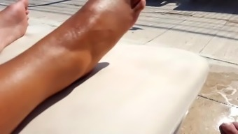 Lovely Gf's oiled beautiful feets toes bottoms at pool