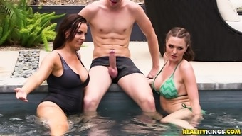Great group threesome by using unquenchable Dana Dearmond and Krissy Lynn