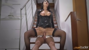 Delicious raven haired MILF in horny hides coat of paint gets fucked on stairways hard