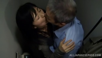 Grow older Japanese people porno star getting fucked puppy trend using a naughty old man inside the bathroom
