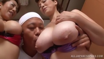 Marvelous From asia pornstars with major tits get slammed in a ffm threesome action