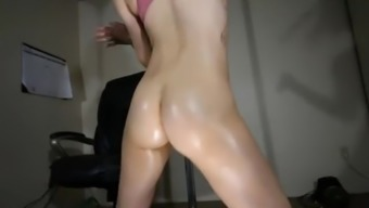 Oiled butt trying to clear and performing arts