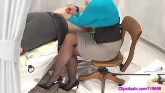 Mistress Handjob Mock In Pantyhose