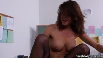 veronica avluv cycling his penis upon the desk cowgirl form