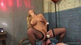 Irritated female friend Cherie Deville leaves on strpon and fucks ass of 1 bound dude