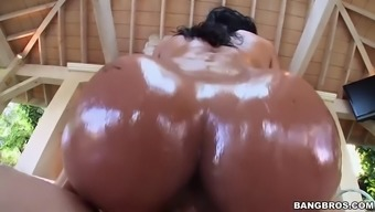 abby lee brazil gets oiled up then fucked outdoors