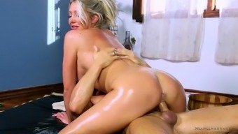 curvy british milf lexi lowe gets oiled and fucked by the masseur