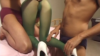 Penetration session for the attractive Japanese maid within the ecological stockings