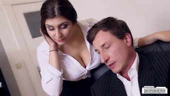 BUMS BUERO - Big tits German counter fucks chief at the office
