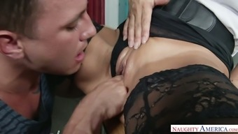 Warm tutor Lezley Zen asks her apprentice to clobber her moist pussy