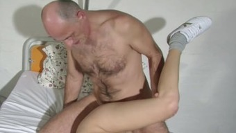 German old Grandpa attract his youthful Healthcare provider
