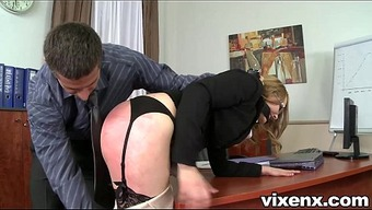 Bad desk dealt with by spanking and rectum love-making