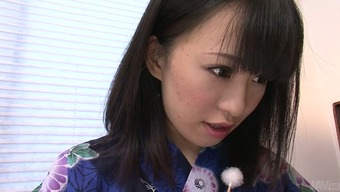 Adorable Far eastern moaner in beautiful kimono you like her porn star with great BJ in massage therapy parlor