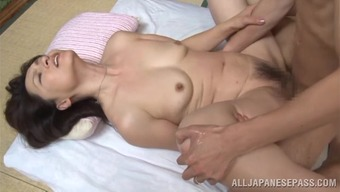 Lustful japanese people grow older dame Yuuri Saejima bounces on heated cock