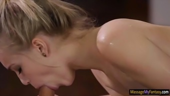 Little blond babe Alex Gray sucks off and nailed by masseur