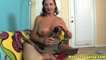 Busty grow older jerks on incline pov for blessed guy