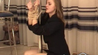 Attractive Czech housewife squirming during a few piece of string spin action