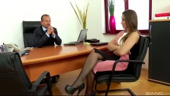 Dani Daniels publicizing throughout the desk to have her beaver fed on
