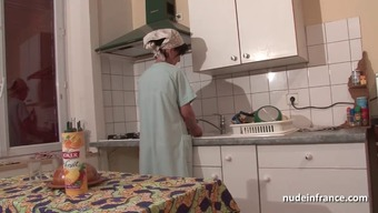The french language mum seduces younger man with the butt