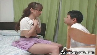 Attractive oriental with the use of big bosoms home tutor part1