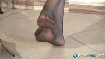 The girl in nylons displays her crazy coated toes and each of your feet