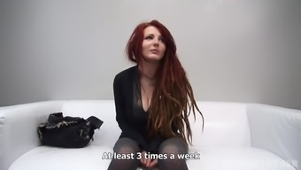 Redheaded with dreads shows her tits and blows great cock