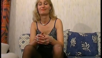 The french language MILF in stockings gets her booty pounded