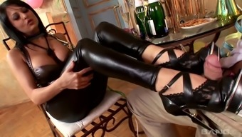 Alison Professional adores wearing a leather covered tub chair pants and he or she gives a great footjob