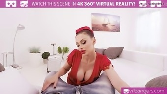 vr porn-busty aletta coastline get popped and titty fuck along with a