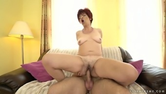 Small haired mature redheaded slut is fucked from behind after supplying BJ