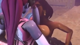 Pharah and WidowMaker in Overwatch make love