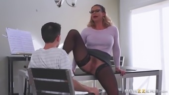 Big stupid ass mother in stockings seduces youthful porn star