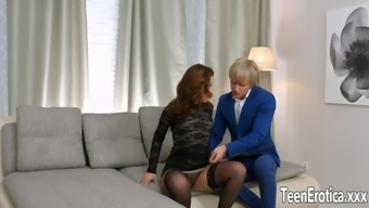 Small tittied Emma Blue fucked in her own pussy and asshole