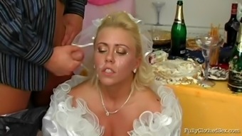 Perverted future bride penis sucker gets cum in her mouth before drilled at her weddind