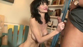 Slender milf by using beautiful worthless titties fucked in emily's younger times wet pussy