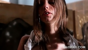 Friendly straitlaced young adult Gloria rubbing slender crimson outdoor