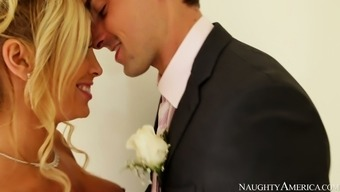 Heated brown bride to be Tasha Reign gives blowjob to her fiancé Ryan Driller