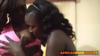Black nice girls from Africa in threesome