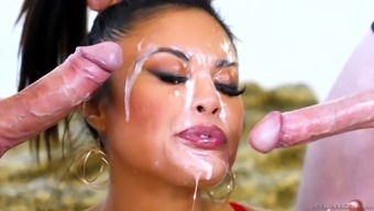 Kaylani Lei needs to moan while she bangs with two guys at once