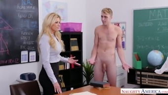Naughty student lures his curvy blonde tutor for some hot quickie