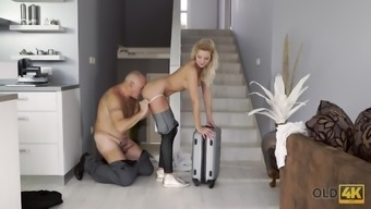 Old dad facializes blonde after stretching her sweet pussy