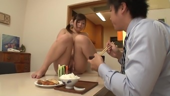 Haruki Sato and her mate playing with food in a serious method