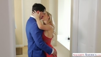 Appealing paramour in attractive stockings and red intimate apparel Cherie Deville goes natural environment linked to complicated penile organ