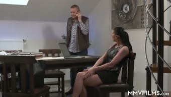 Nerdy Czech secretary Supporter Design gets soaked up with the use of working on stiff cock