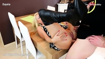 My Filthy Hobby - Deepthroat and anal in a leather-based tub chair boots