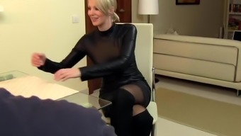 attractive companion cara fucked in leather-based and ejaculate on dress