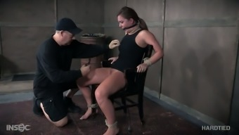 Hogtied meek whore Maddy Oreilly gets her nipples pinned complicated