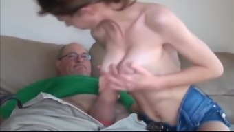 Old Man With Very Big Cock Fucks Skinny and Busty Teen
