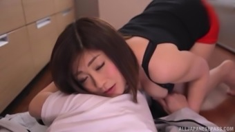 Japanese blond MILF Misato Shiori bends over for a fuck